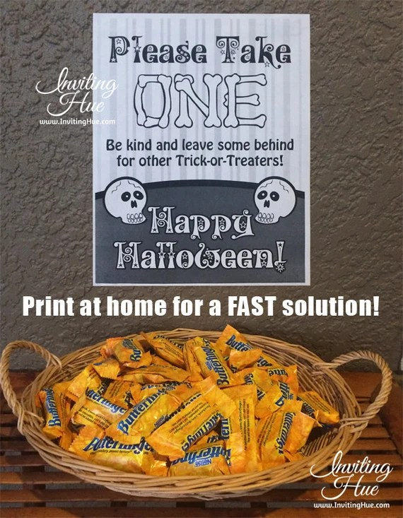 printable sign for halloween candy bowl trick or treaters