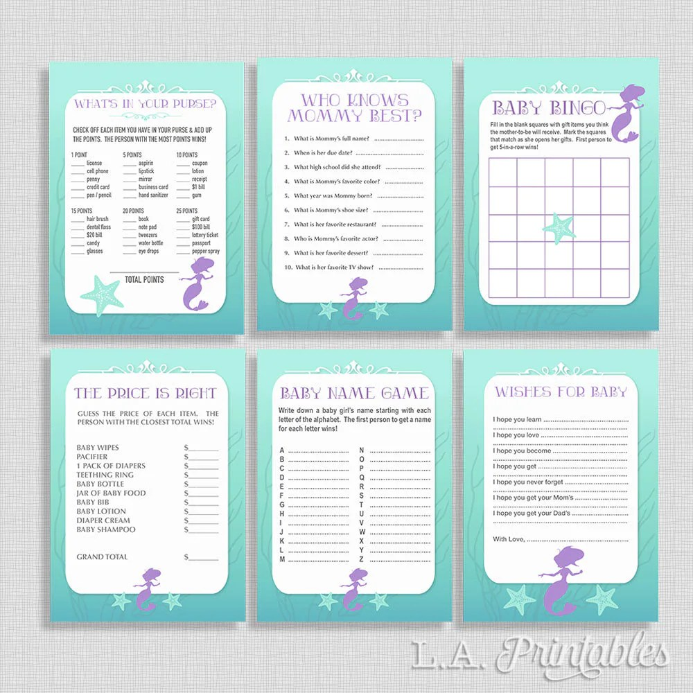 Mermaid Baby Shower Games Package Six Baby Girl Shower Games