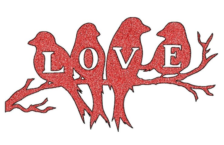 BIG hoop BIRDS silhouette 'love' Machine Embroidery Design File, digital download