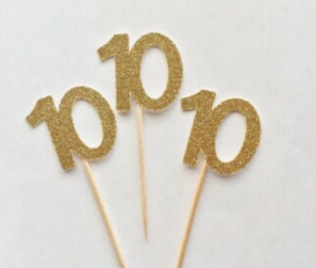 10th Glitter Cupcake Toppers Anniversary 10 10th Birthday Dessert Table Decorations Donut Toppers Glam Golden Gold Party