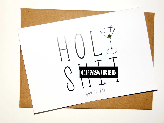Funny 21st Birthday Card 21 Birthday Card Holy