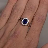Lab Sapphire Ring Silver Dark Blue Gemstone Ring Promise Ring