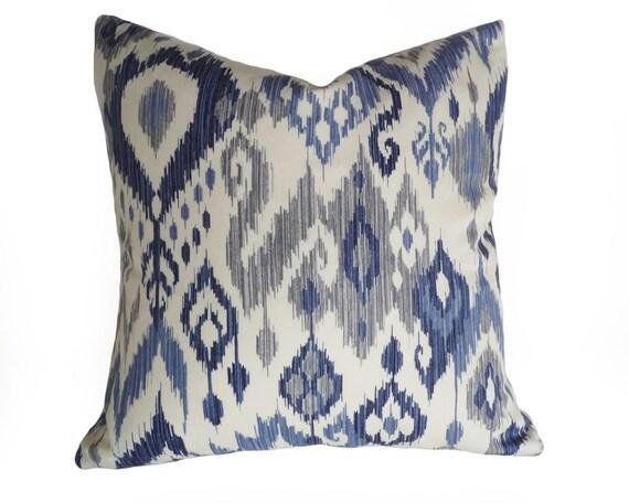 Blue Ikat Pillow Ikat Pillow Blue Pillow Cover Decorative