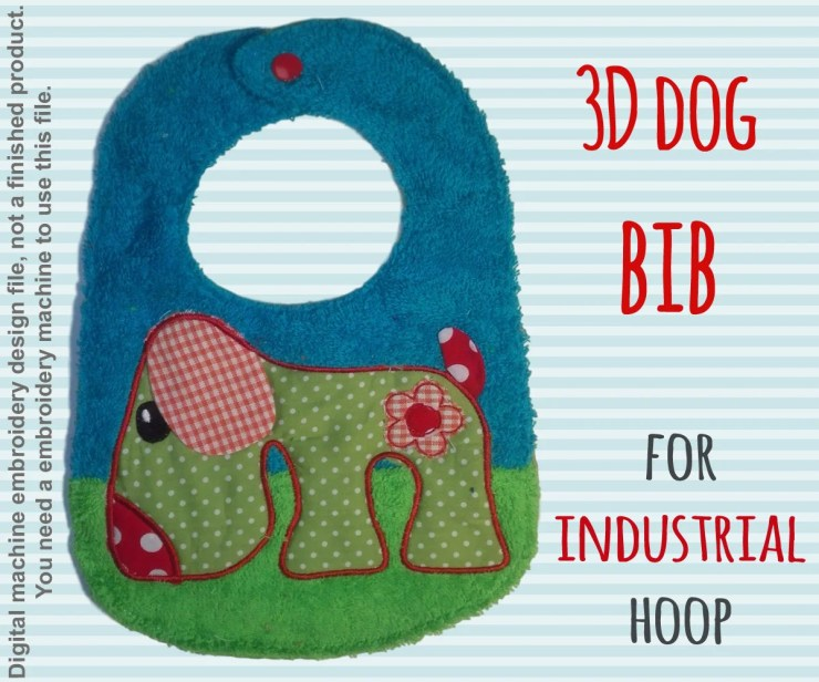For industrial hoops! hoop - BIB - 3D doggy - Machine Embroidery Design File, digital download