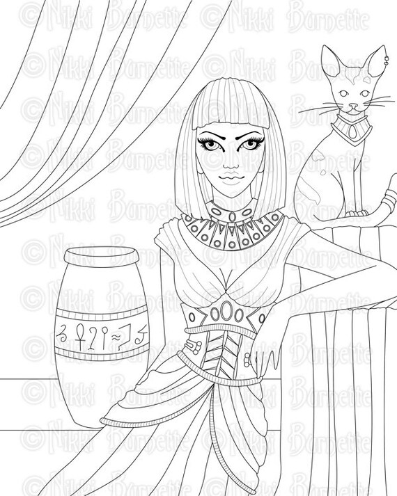 Digital Stamp Printable Coloring Page Cat Stamp Egyptian