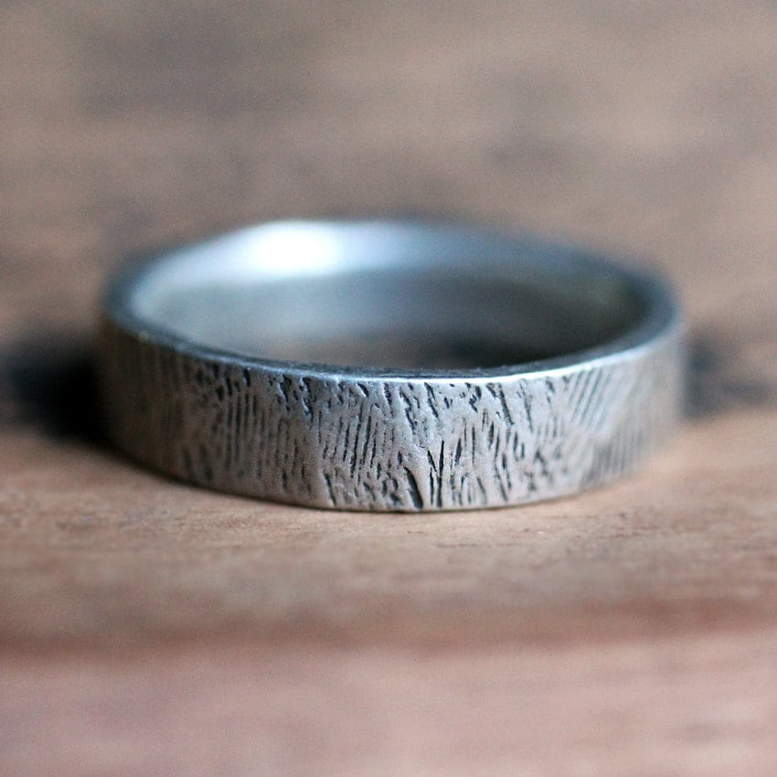Mens silver wedding band woodgrain ring mens rustic wedding