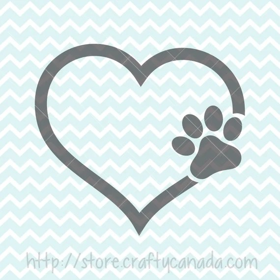 Download I Love My Dog SVG & PNG Paw in Heart Svg and Clipart Dog