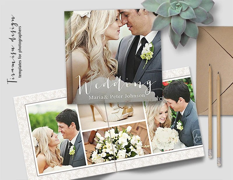 Square Album Template for Photoshop 10 Spreads20 Pages