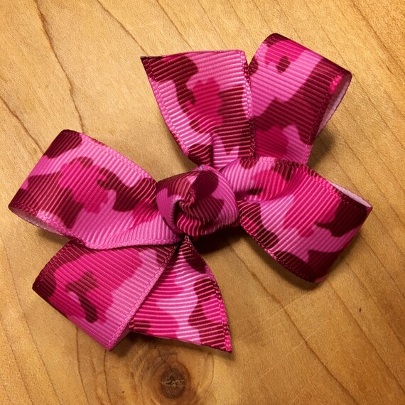 camo pink hair bow party