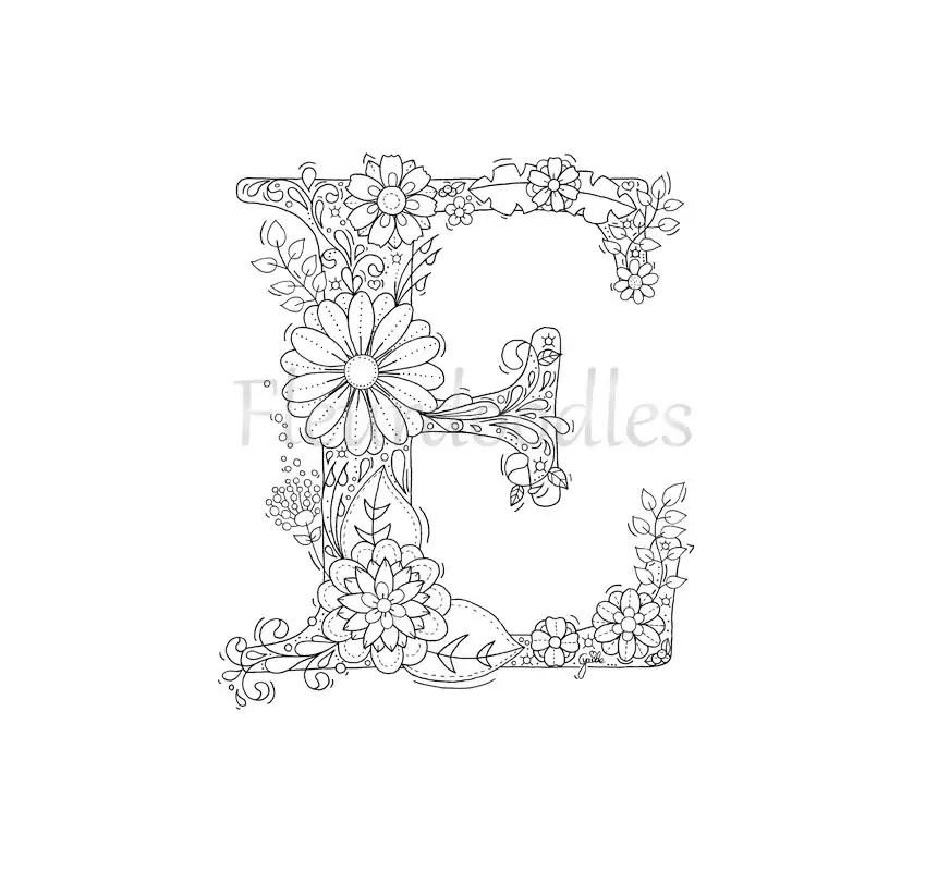 adult coloring page floral letters alphabet E hand