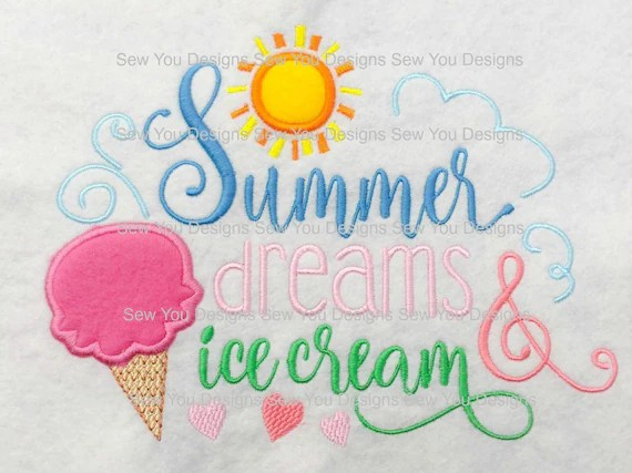Summer Dreams and Ice Cream Word Art Machine Embroidery