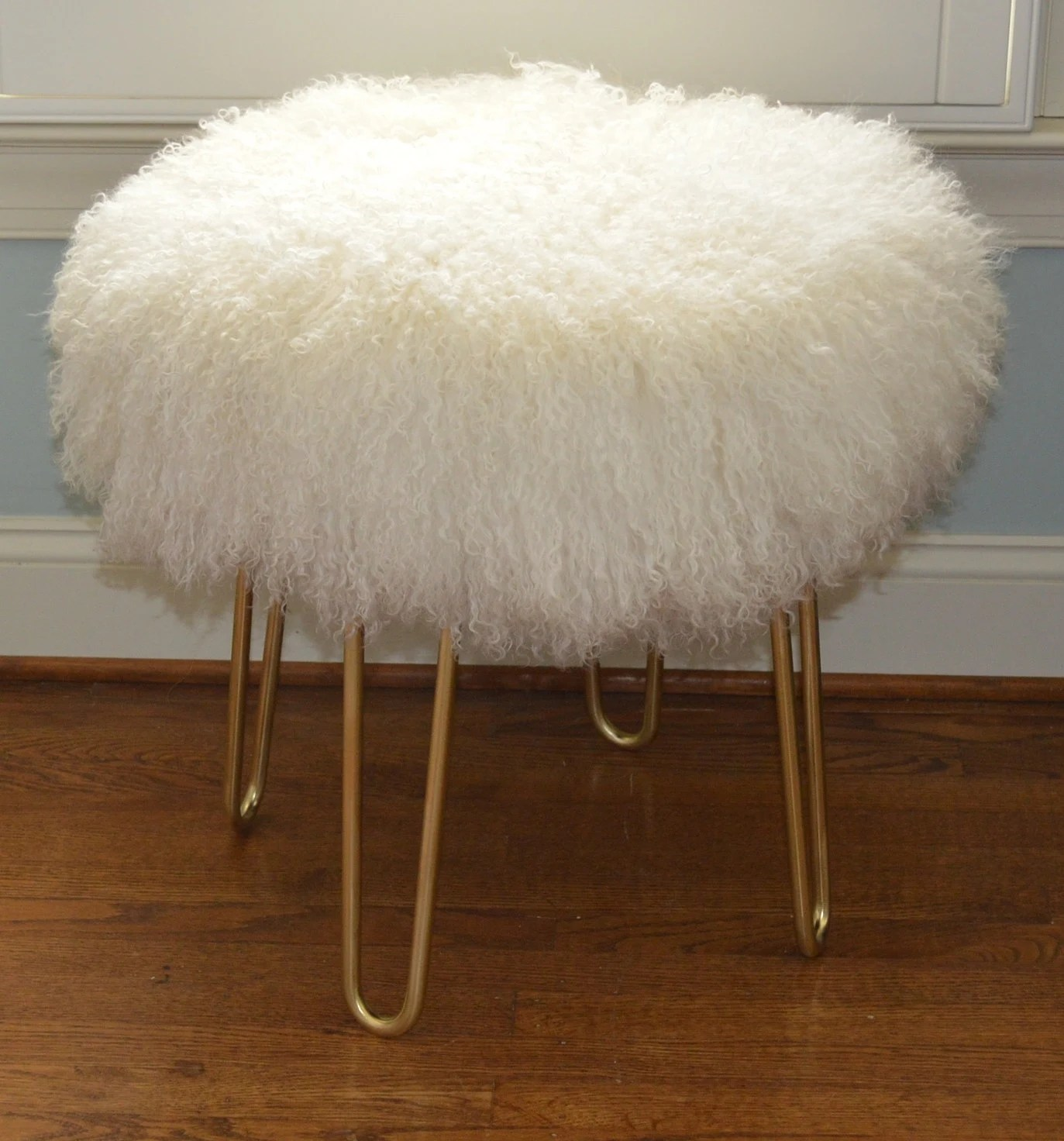 vanity chair white fur posture and ottoman set real natural mongolian lamb stool tibet bench brass