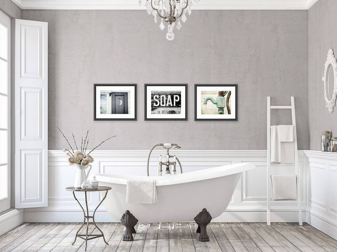 Rustic Bathroom Wall Decor Bathroom Wall Art Set of 3 Prints