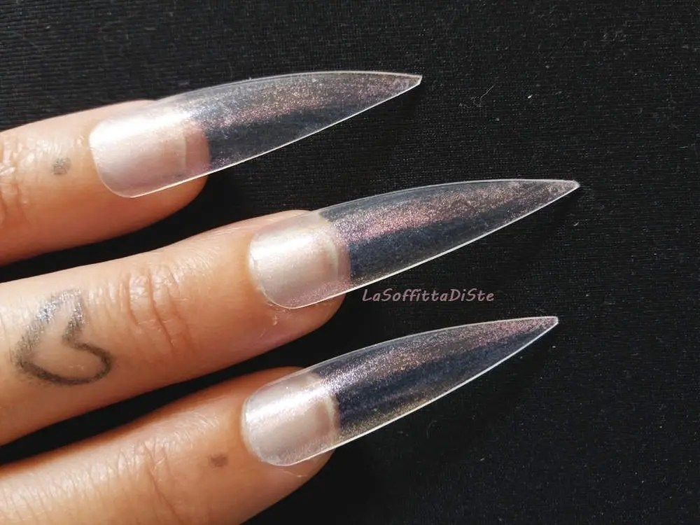 fake nails clear medium long stiletto