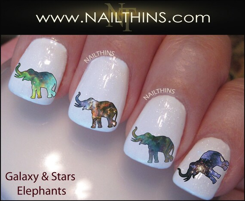 galaxy elephants nail decal