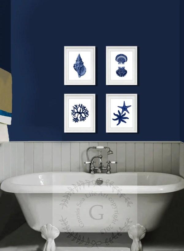 Navy Blue Bathroom Wall Decor
