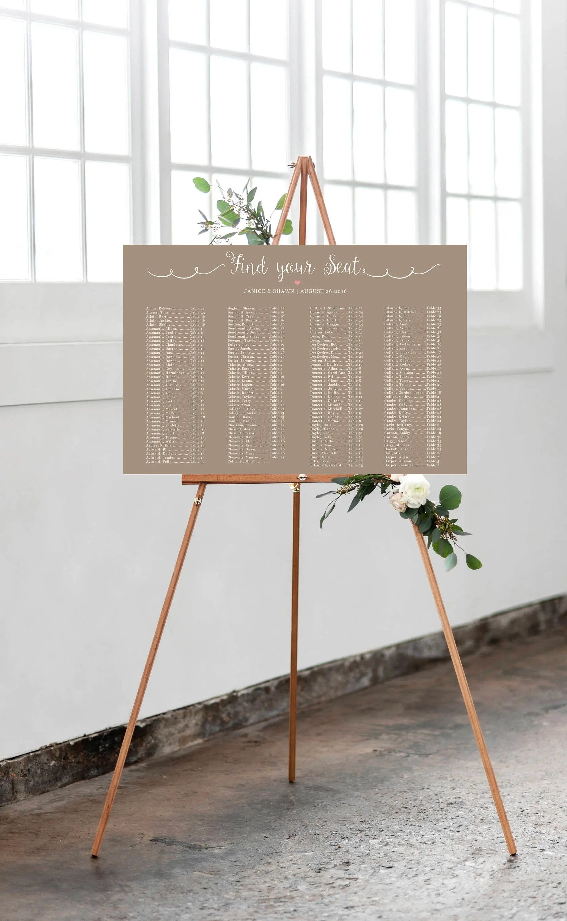 Printable wedding seating chart digital file rustic seat assignments personalized also floral rh etsy