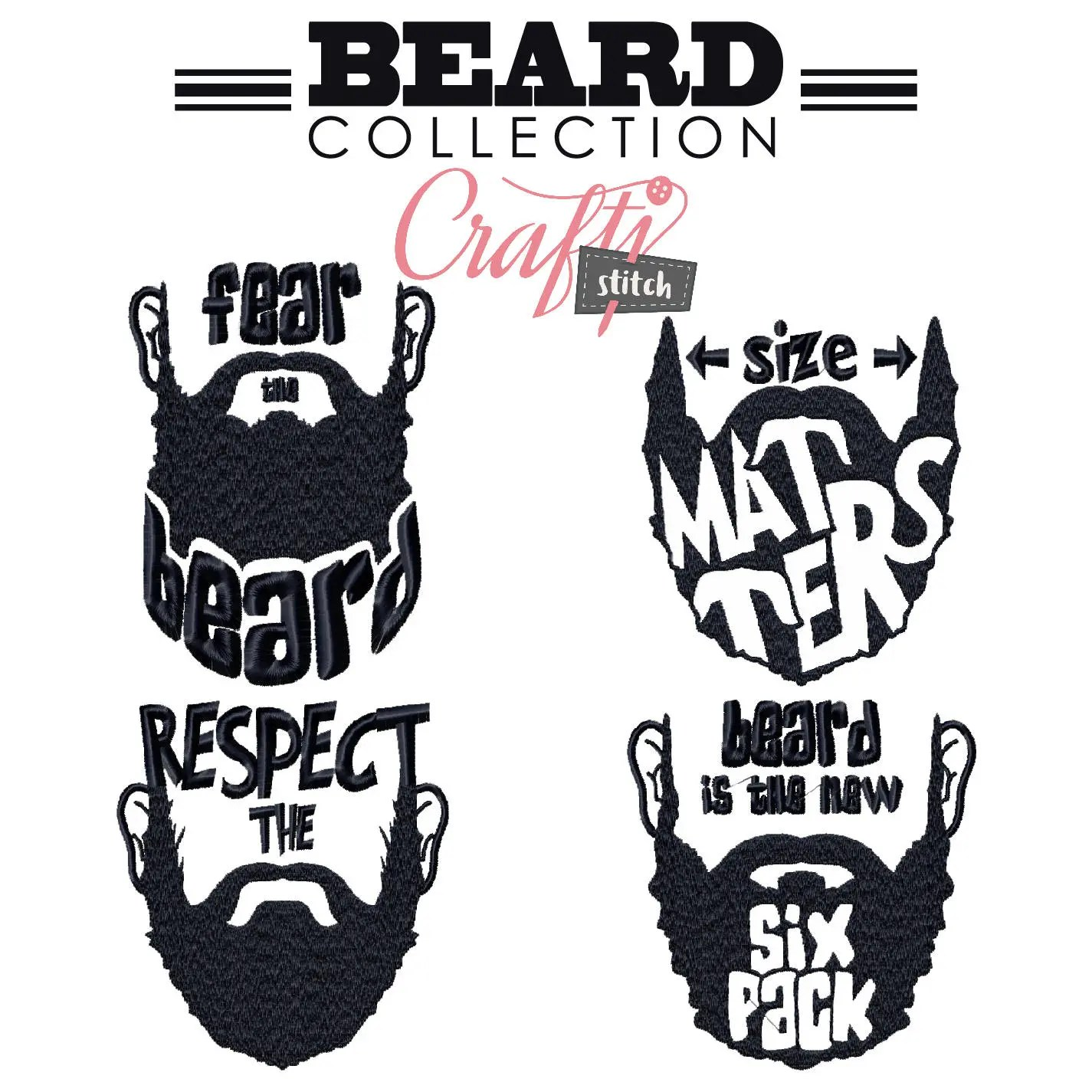 Machine Embroidery Designs 4 Hipster Beards Collection