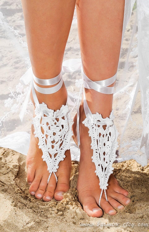 Beach Wedding Crochet Barefoot Sandals In White With Satin