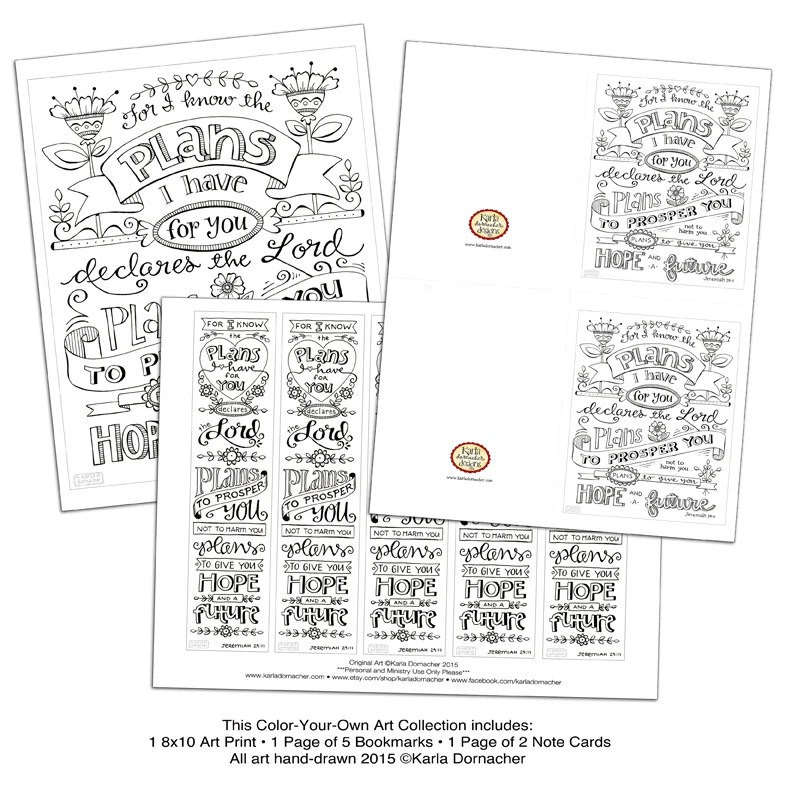 Jeremiah 29:11 Bible Journaling Coloring Collection Bookmarks