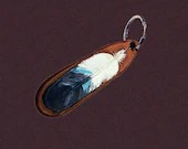 Leather feather keychain,...