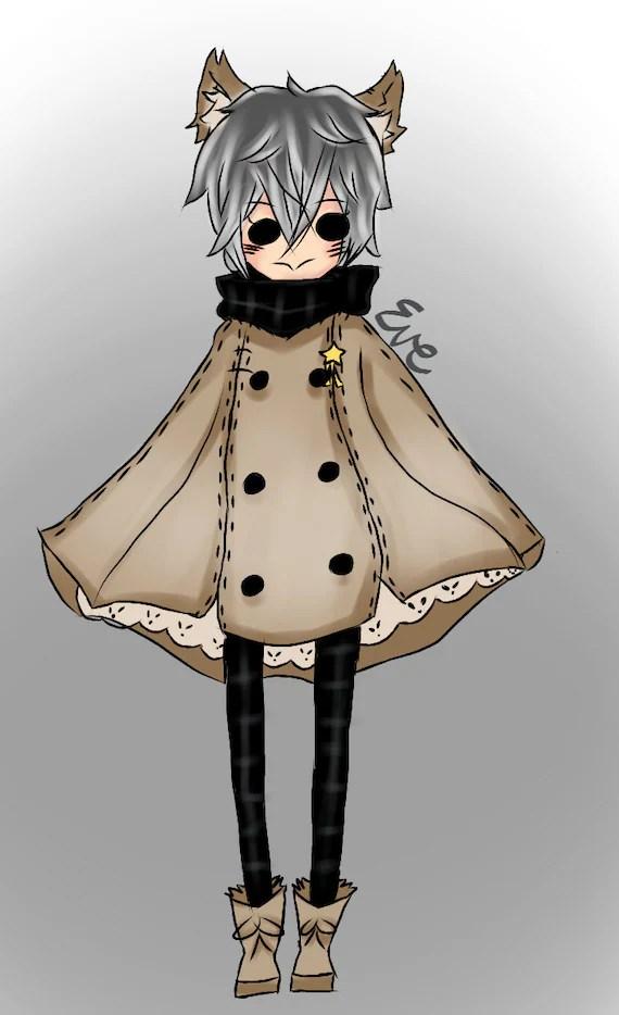 grey haired neko boy anime