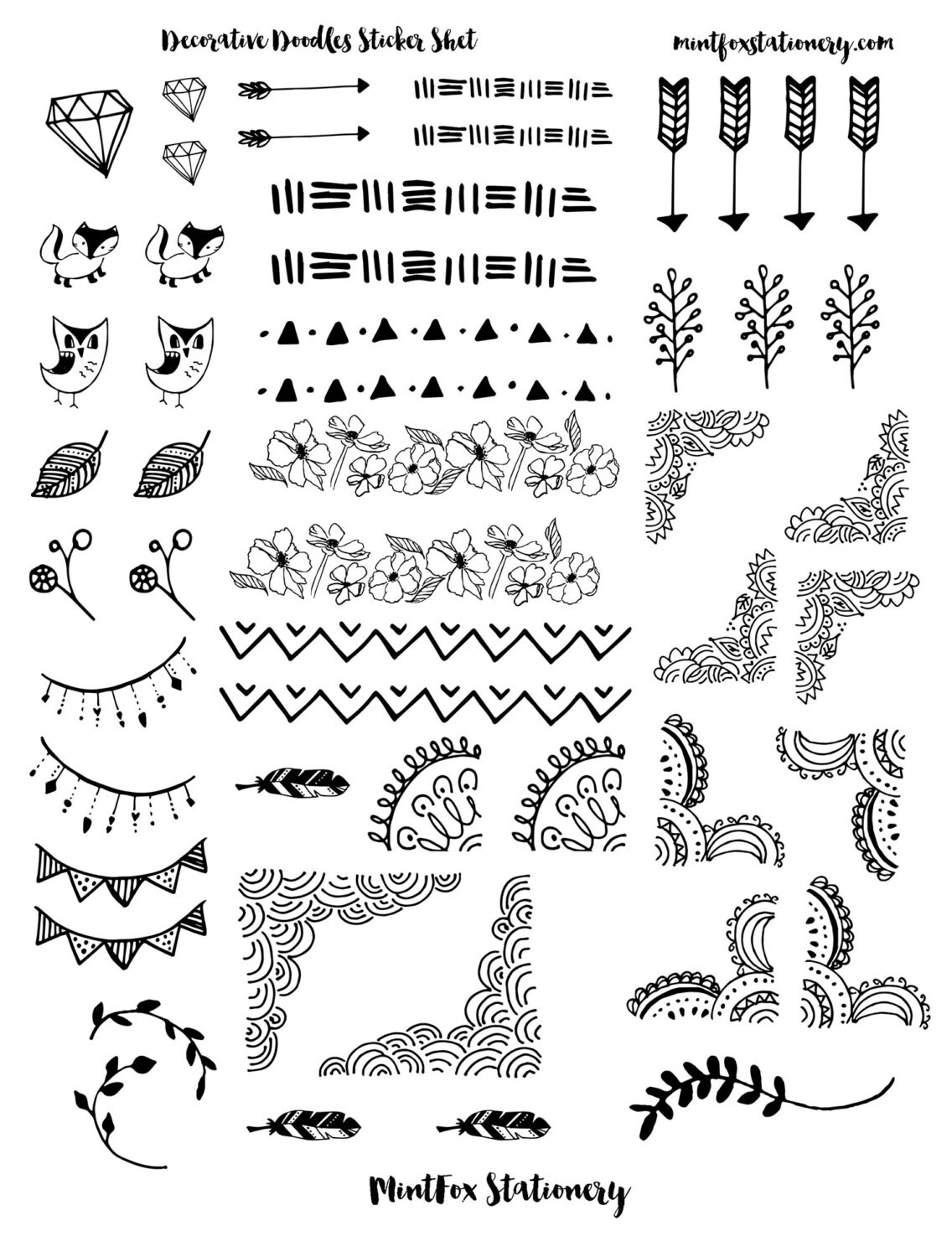 Decorative Doodles Printable Sticker Sheet Bullet Journal