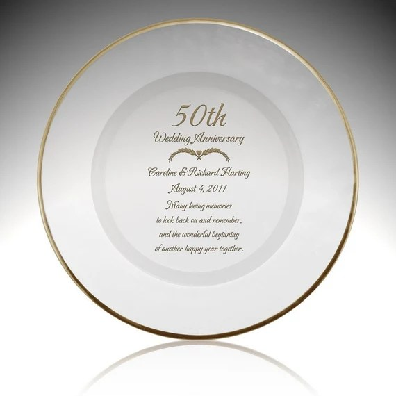 Engraved 50th Wedding Anniversary Glass Plate