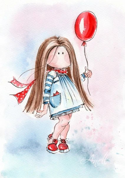 Cute Stylish Child Girl Wallpaper Watercolor Print Little Light Brown Haired Girl With Balloon