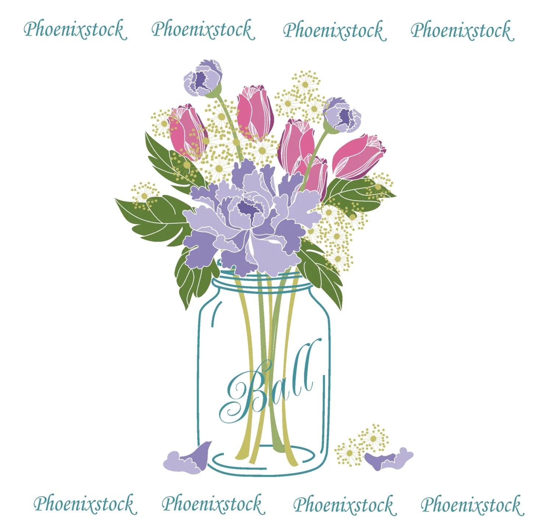 wedding clip art mason jar bouquet