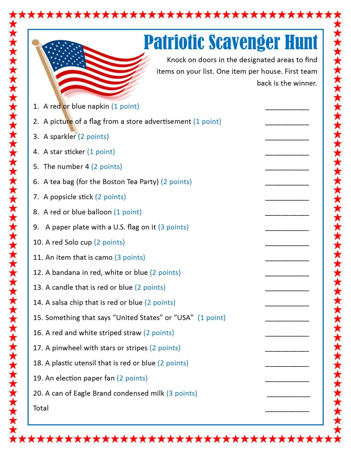 Patriotic Door To Door Scavenger Hunt Printable Game 4th