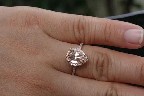 Rose Gold Morganite Engagement Ring Pear Morganite Ring In 14k