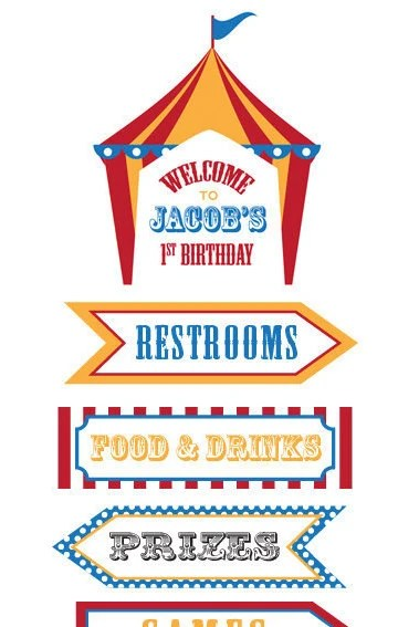 Dumbo Circus Personalized Birthday Directional Sign