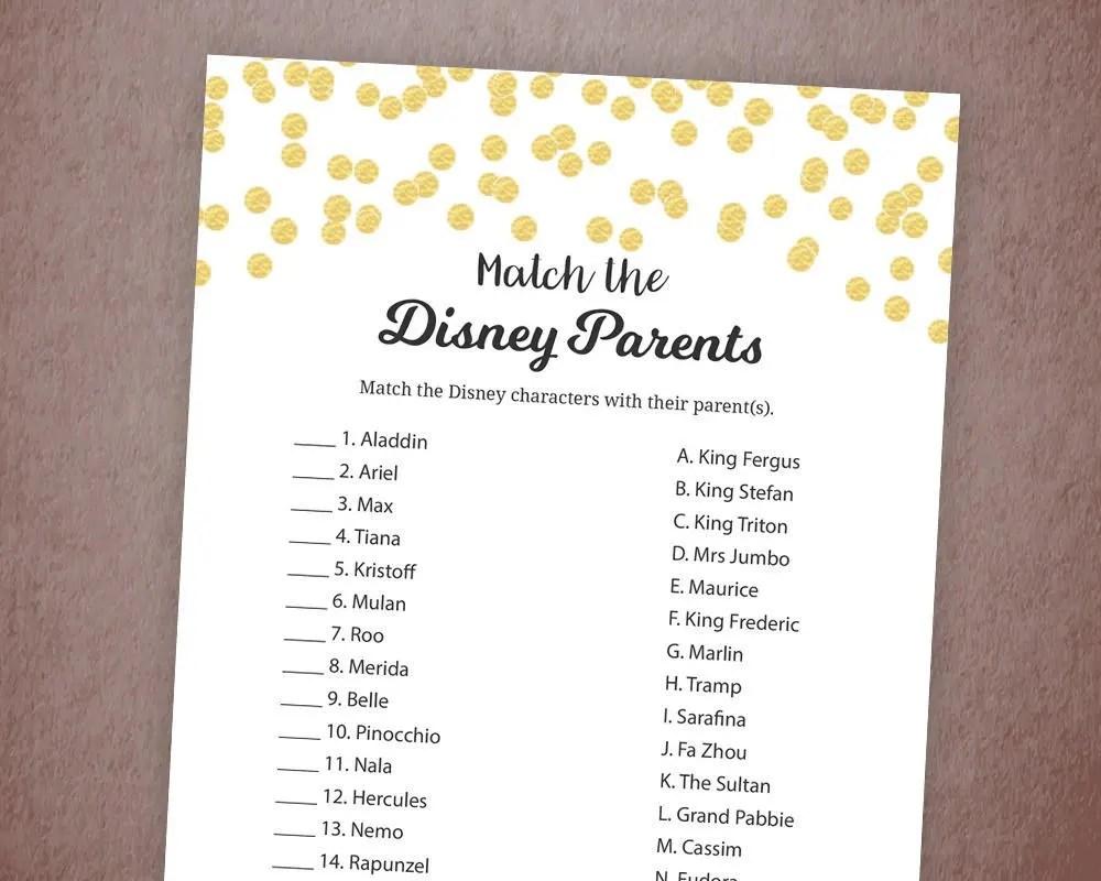 Disney Parent Match Game Printable Baby Shower Games Match
