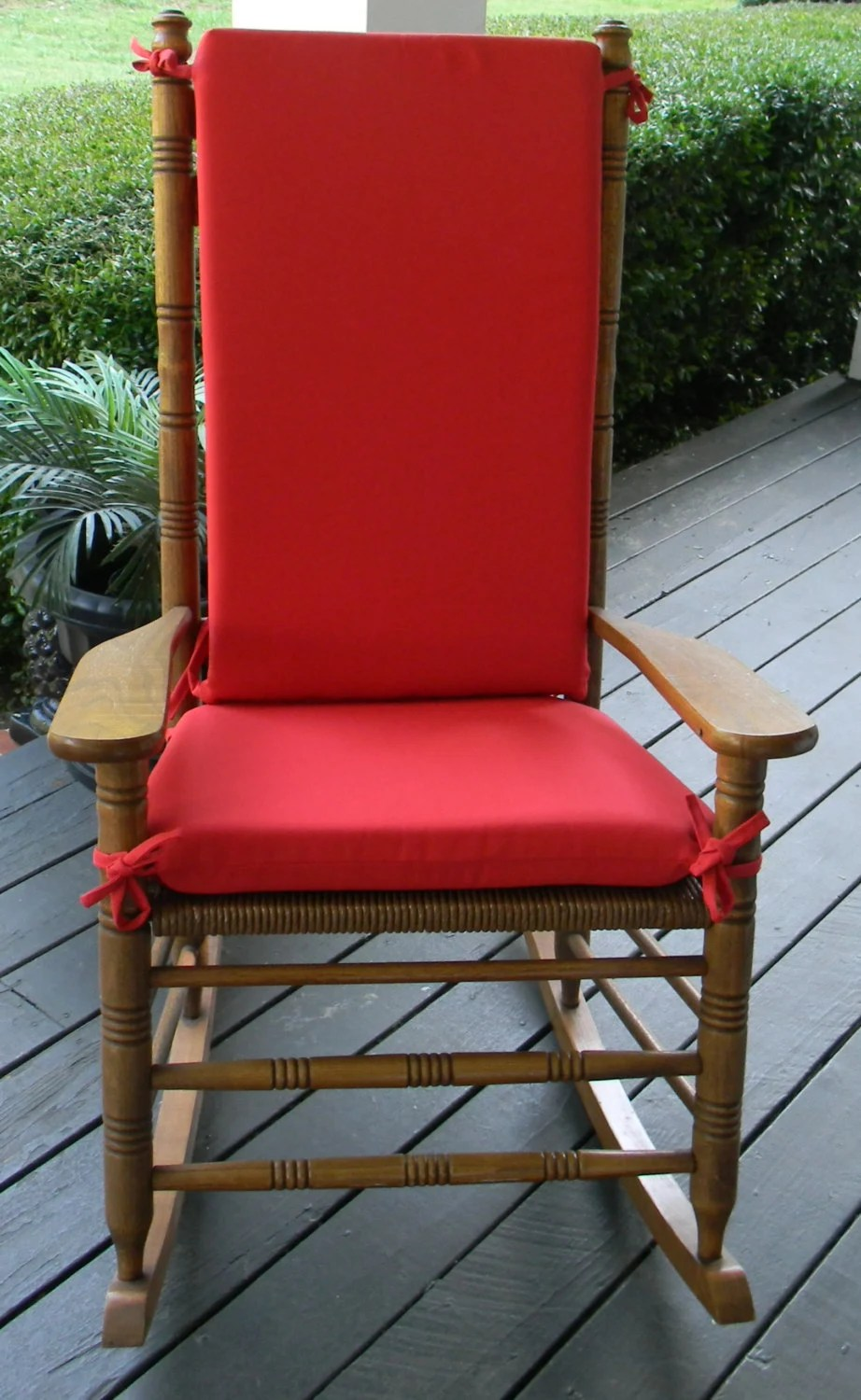 Indoor  Outdoor Solid Red Rocking Chair 2 PC Foam Cushion Set