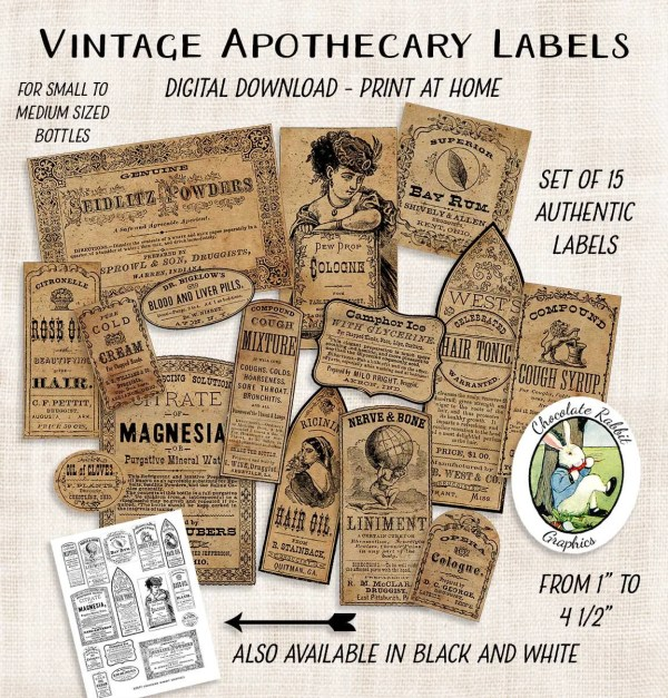 Vintage Apothecary Label Collage Sheet Printable Digital