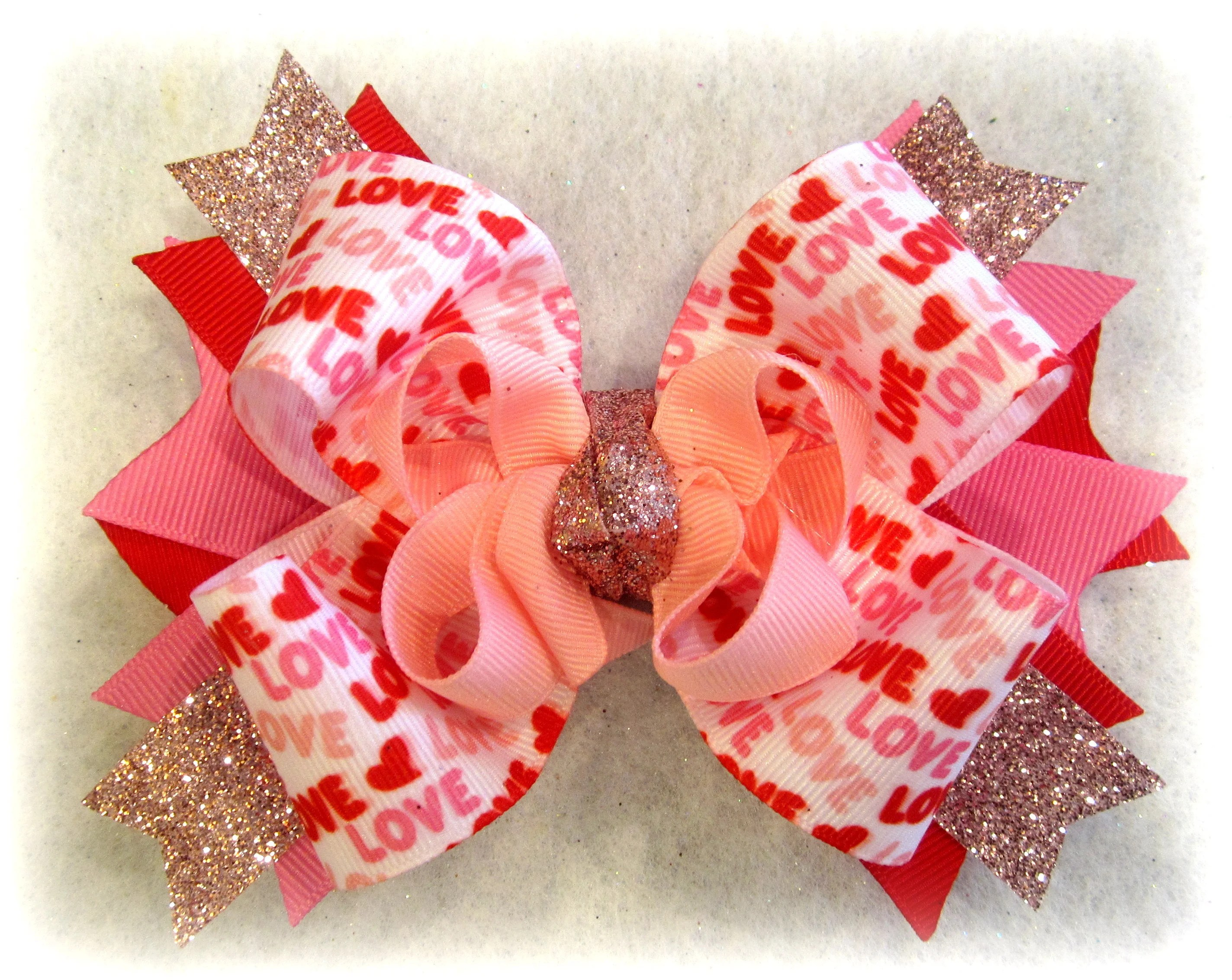 valentines day bows love hairbow
