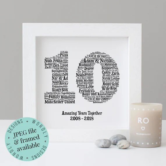 10th Wedding Anniversary Print