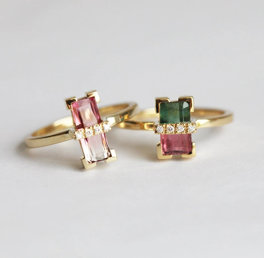 Unique Bicolor Tourmaline Ring Unique Engagement Ring Bi
