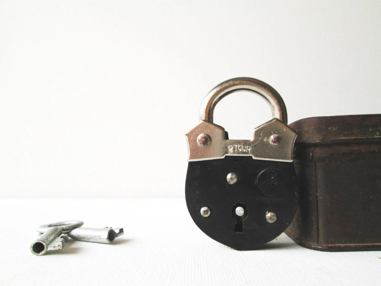 Vintage Mini Padlock Miniature Lock And Key Black Unused