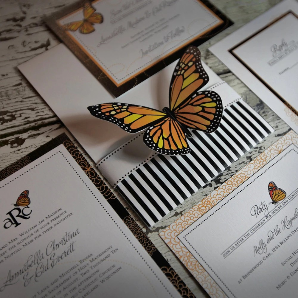Monarch Butterfly Wedding Invitation Suite Sample
