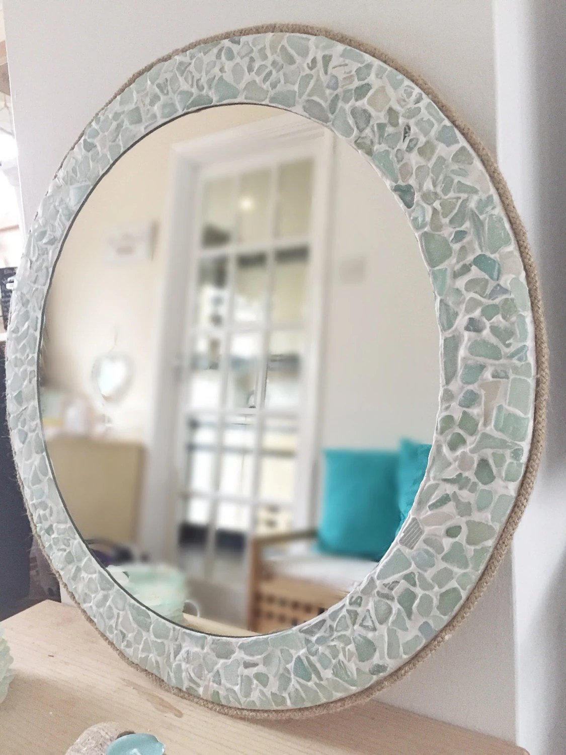 Large Bathroom Mirror Frame Large Round Sea Glass Mirror Isle Of Wight Beach Home Decor