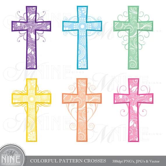cross clip art colorful pattern