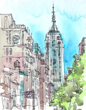 york sketch watercolor empire state building modern nyc sketches urban watercolour suhita architectural artwork archival drawings drawing square draw painting