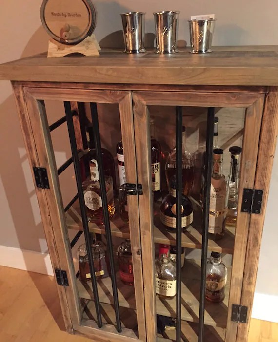 Liquor Cabinet Rustic Iron and Wood with Natural Distressed