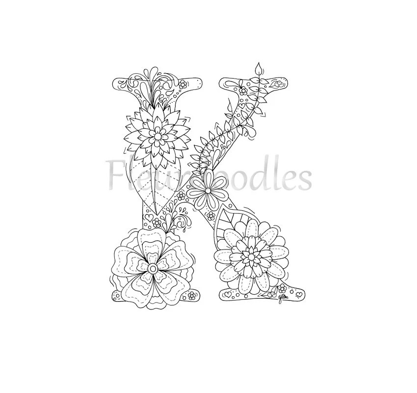 adult coloring page floral letters alphabet K hand