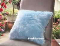One Pair 17x17 Light Blue Luxury Shaggy Fur Pillows Faux ...
