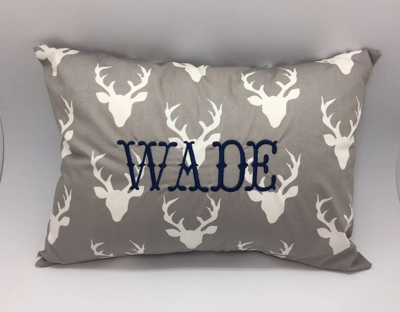 Monogrammed baby pillow with deer antler print personalized