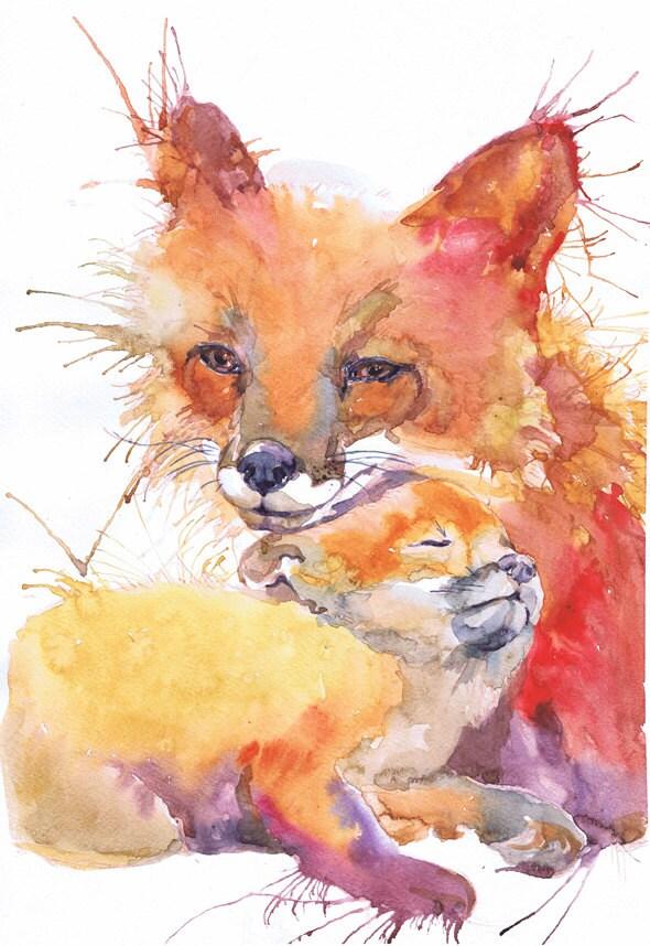 Cute Child Couple Wallpaper Hd Fox Painting Watercolor Art Nursery Decor Baby Watercolour