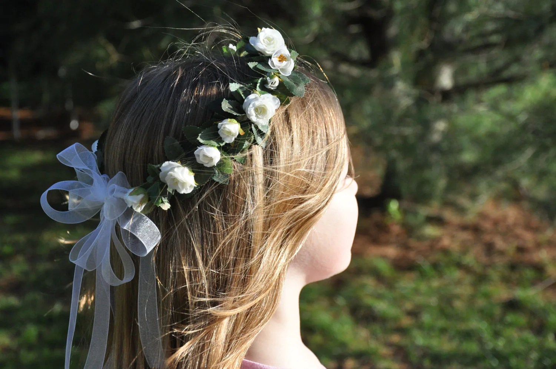 Flower Girl Wreath First Communion Floral Crown Wedding